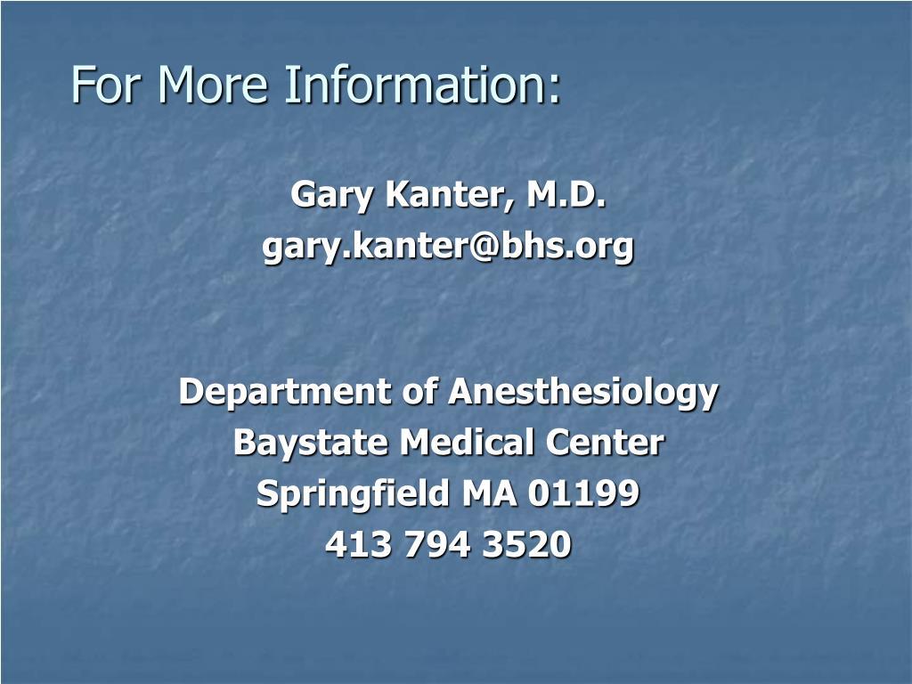 Gary Kanter, M.D.