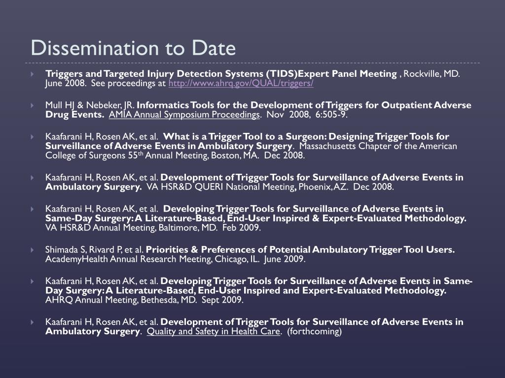 Dissemination to Date