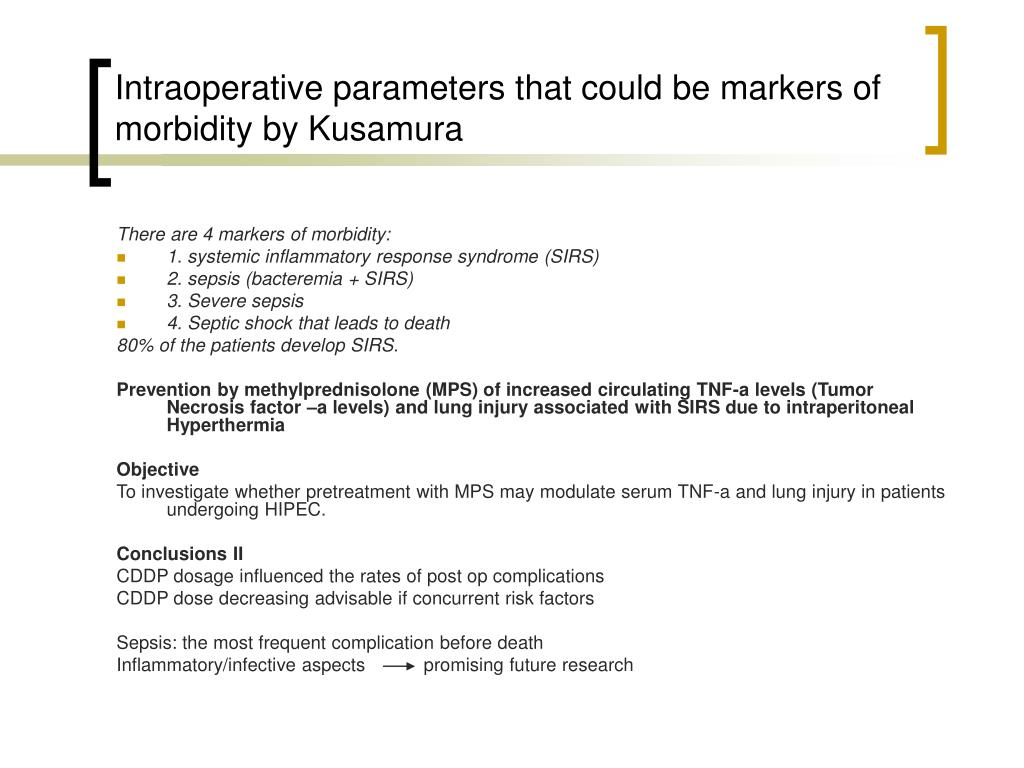 Intraoperative parameters that could be markers of morbidity by Kusamura