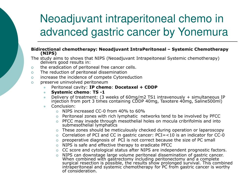 Neoadjuvant intraperitoneal chemo in advanced gastric cancer by Yonemura