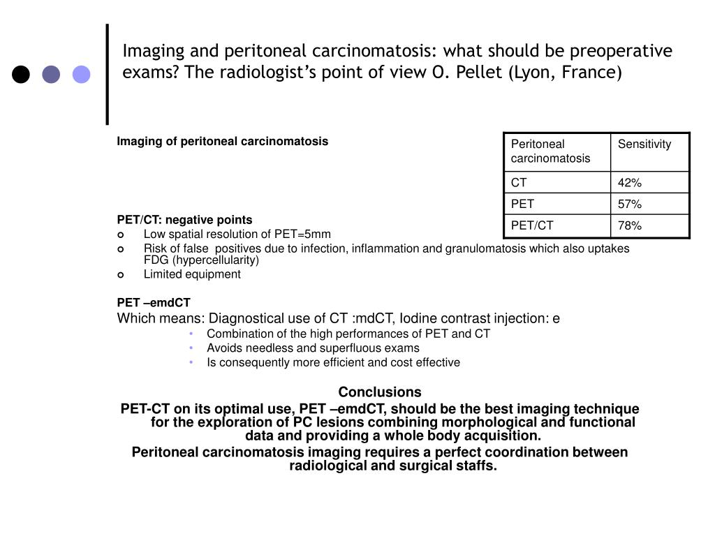 Imaging and peritoneal carcinomatosis: what should be preoperative exams? The radiologist's point of view O. Pellet (Lyon, France)
