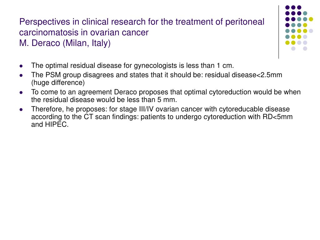 Perspectives in clinical research for the treatment of peritoneal carcinomatosis in ovarian cancer