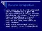 discharge considerations