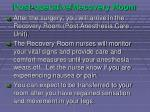 post operative recovery room