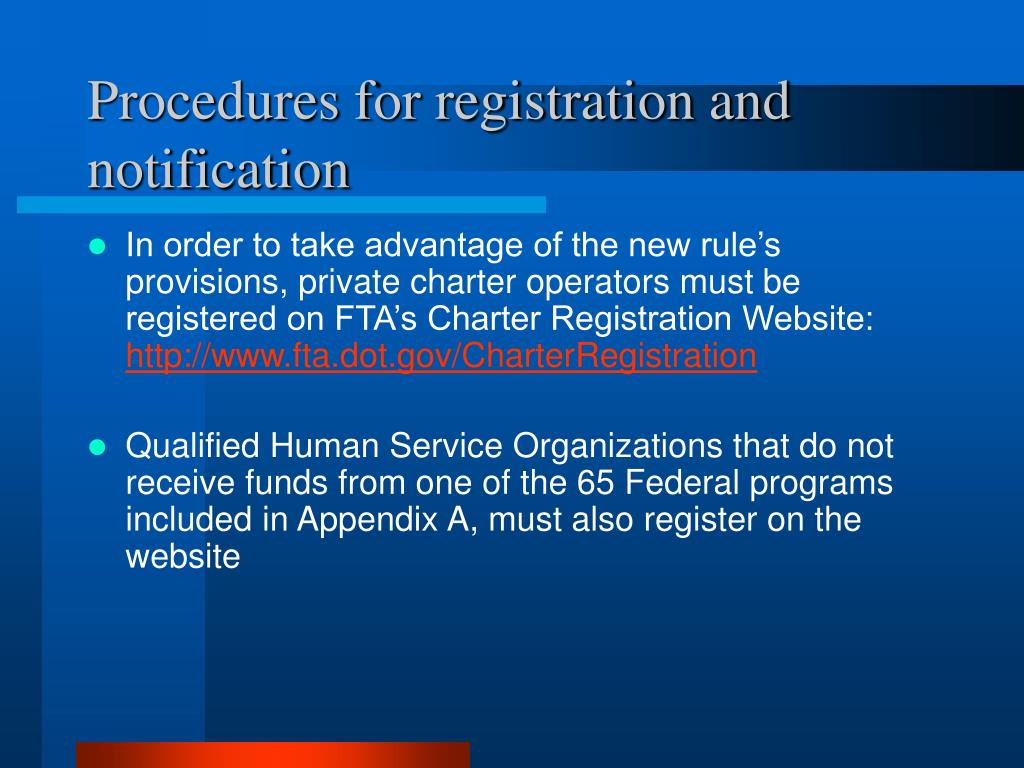 Procedures for registration and notification