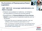 the evolution of pharmaceutical patent legislation7