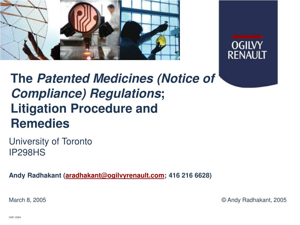 the patented medicines notice of compliance regulations litigation procedure and remedies l.