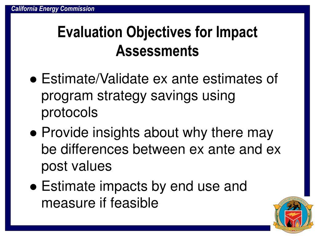 Evaluation Objectives for Impact Assessments