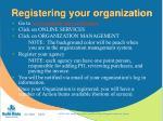 registering your organization