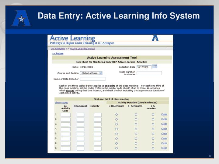 Data Entry: Active Learning Info System