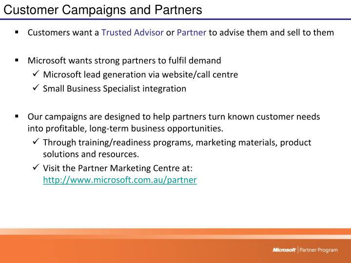 Customer Campaigns and Partners