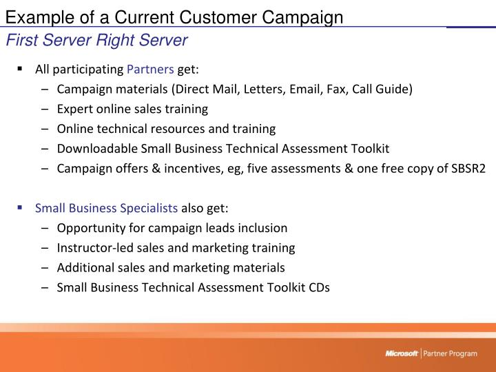 Example of a Current Customer Campaign