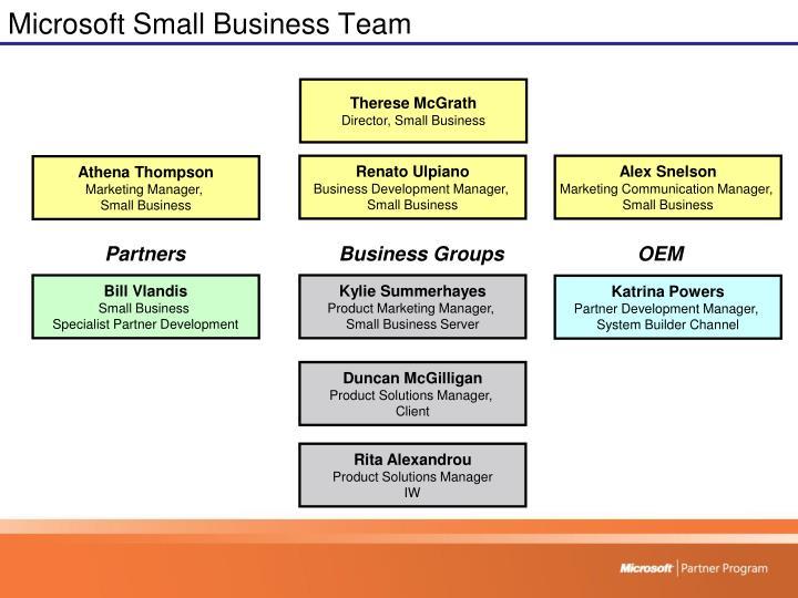 Microsoft small business team