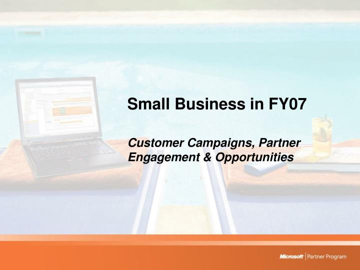 Small business in fy07
