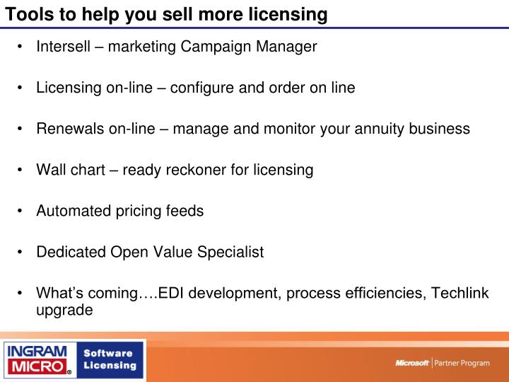 Tools to help you sell more licensing