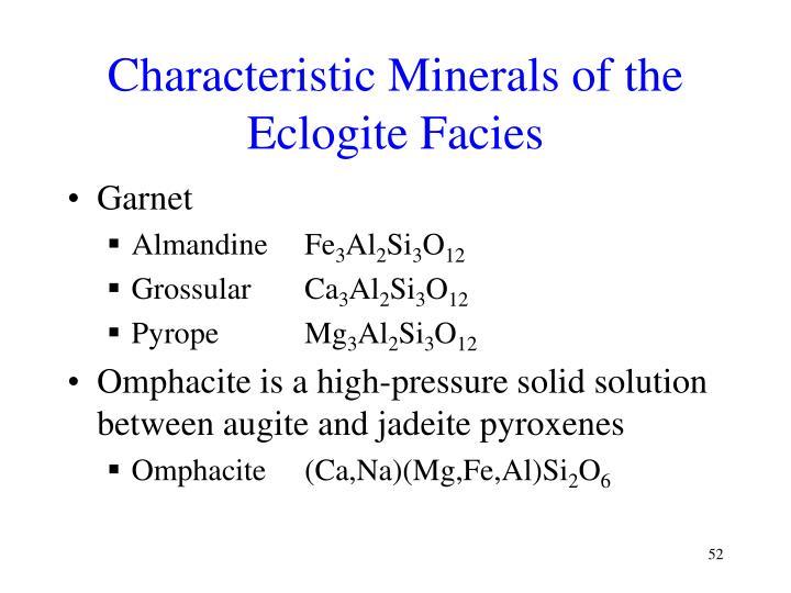Characteristic Minerals of the Eclogite Facies