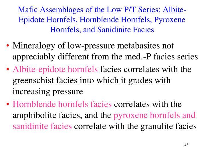 Mafic Assemblages of the Low P/T Series: Albite-Epidote Hornfels, Hornblende Hornfels, Pyroxene Hornfels, and Sanidinite Facies