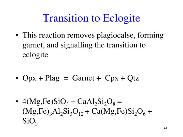 Transition to Eclogite