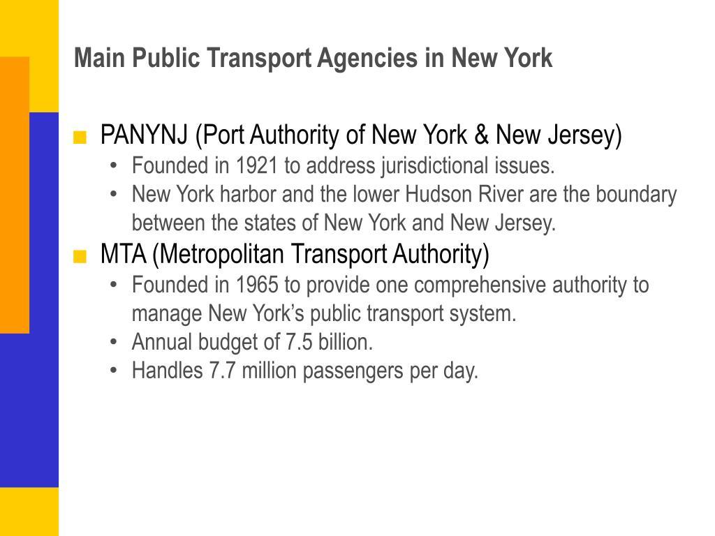 Main Public Transport Agencies in New York