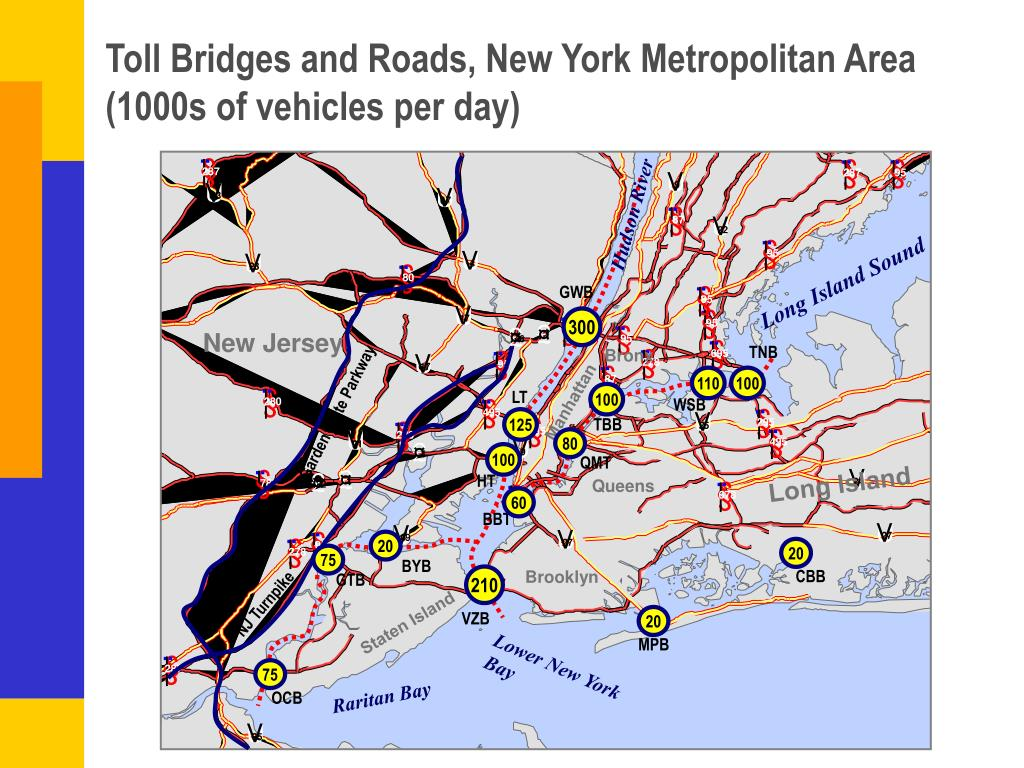 Toll Bridges and Roads, New York Metropolitan Area (1000s of vehicles per day)