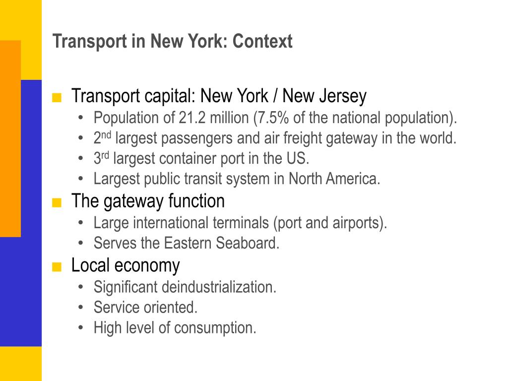 Transport in New York: Context