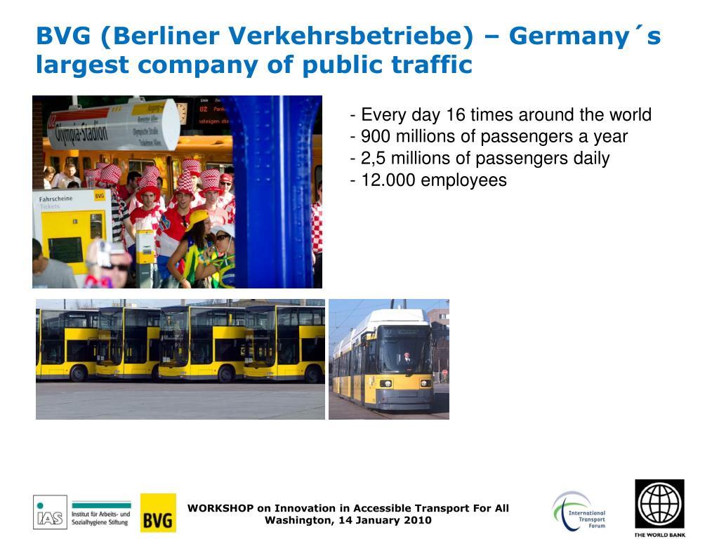 BVG (Berliner Verkehrsbetriebe) – Germany´s largest company of public traffic
