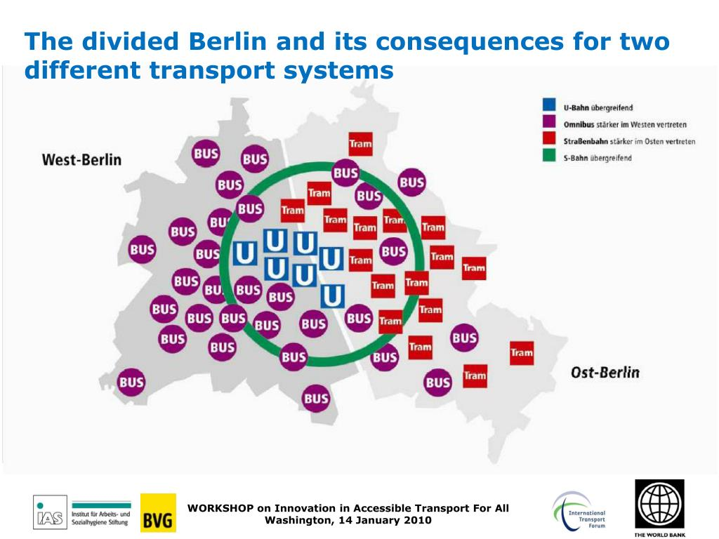 The divided Berlin and its consequences for two different transport systems