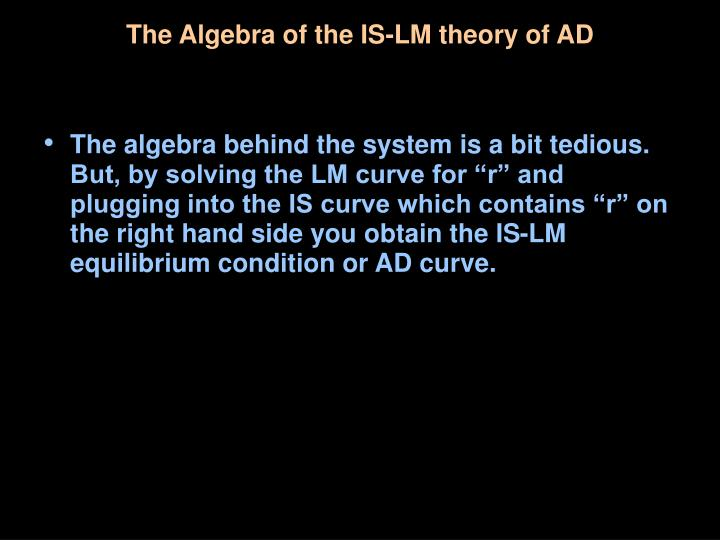 The Algebra of the IS-LM theory of AD