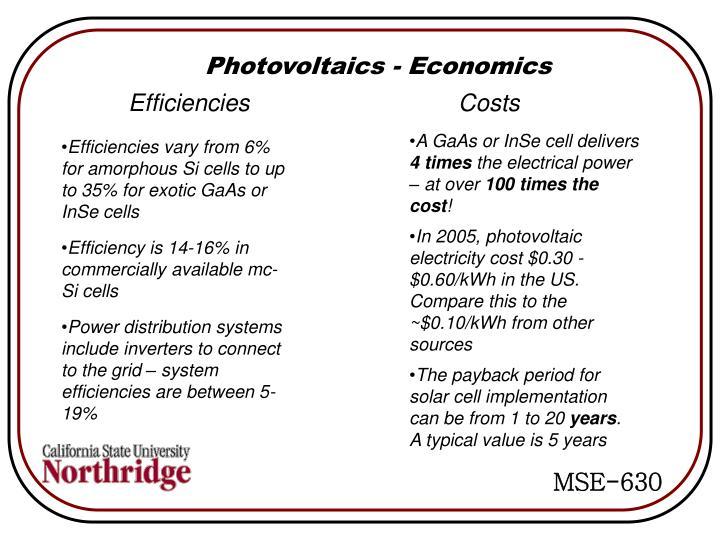 Photovoltaics - Economics