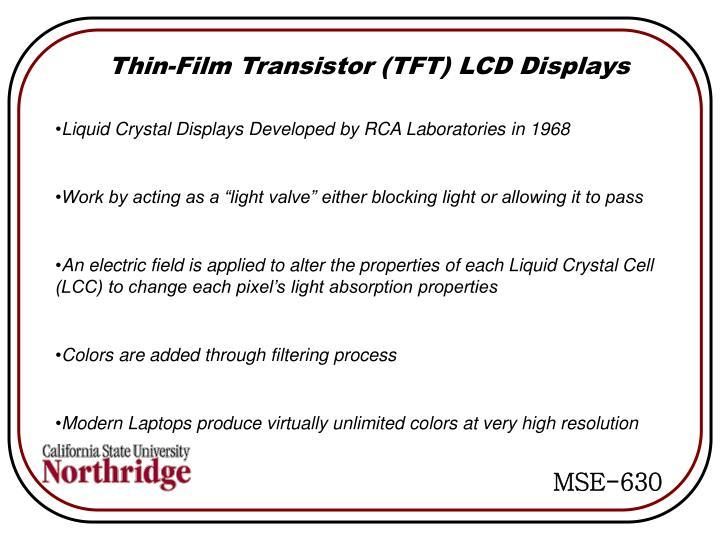 Thin-Film Transistor (TFT) LCD Displays