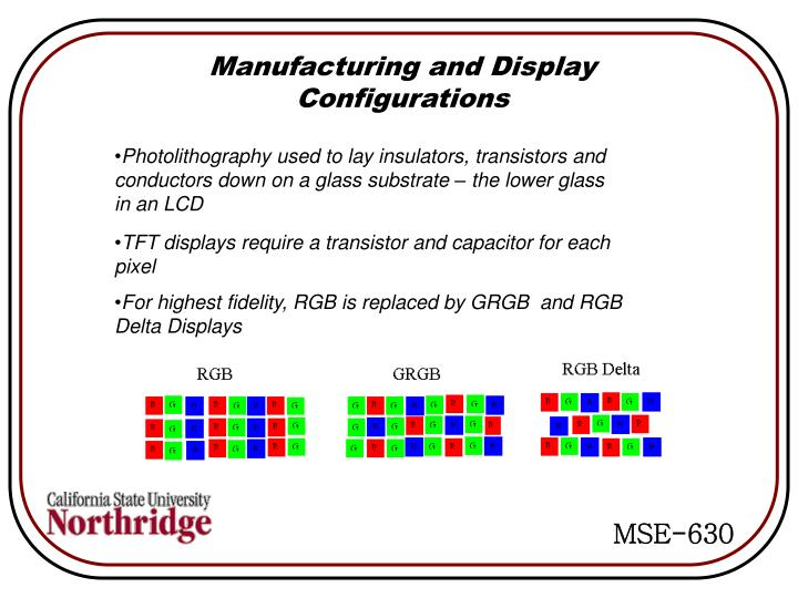 Manufacturing and Display Configurations