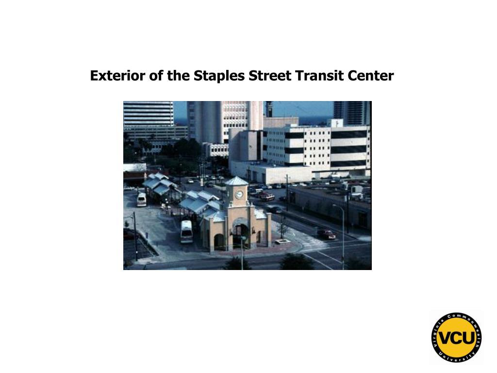 Exterior of the Staples Street Transit Center