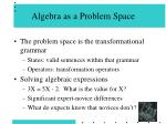 algebra as a problem space