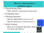 how to characterize a problem space