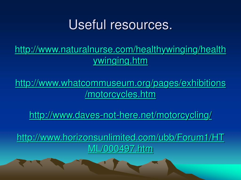 Useful resources.