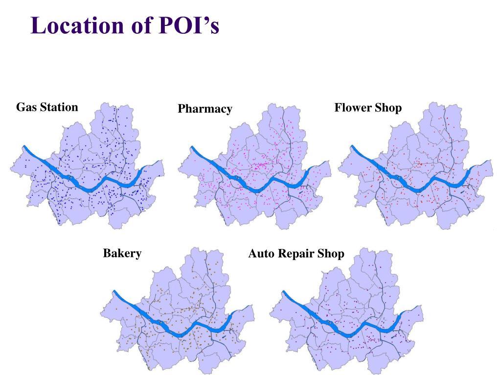 Location of POI's
