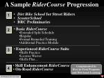 a sample ridercourse progression