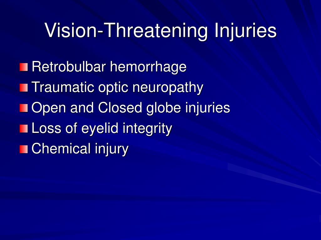 Vision-Threatening Injuries