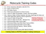 motorcycle training codes
