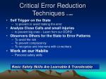 critical error reduction techniques cert