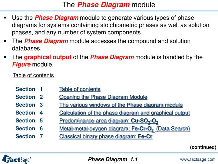 the phase diagram module n.