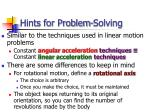 hints for problem solving