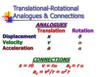 translational rotational analogues connections