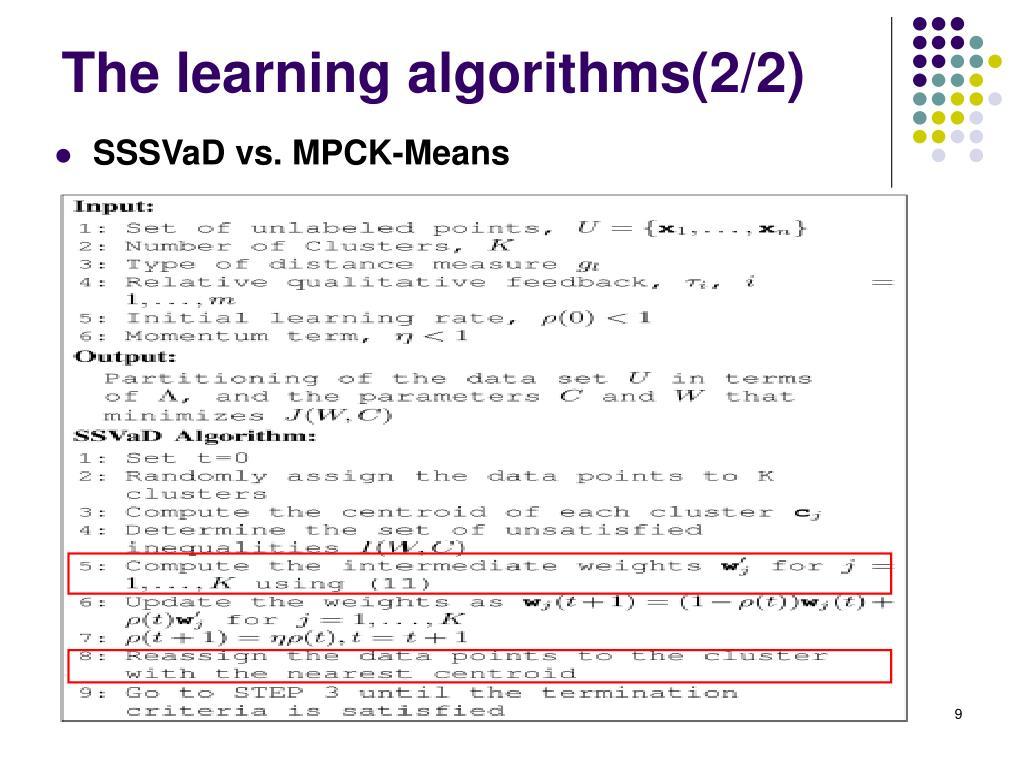The learning algorithms(2/2)