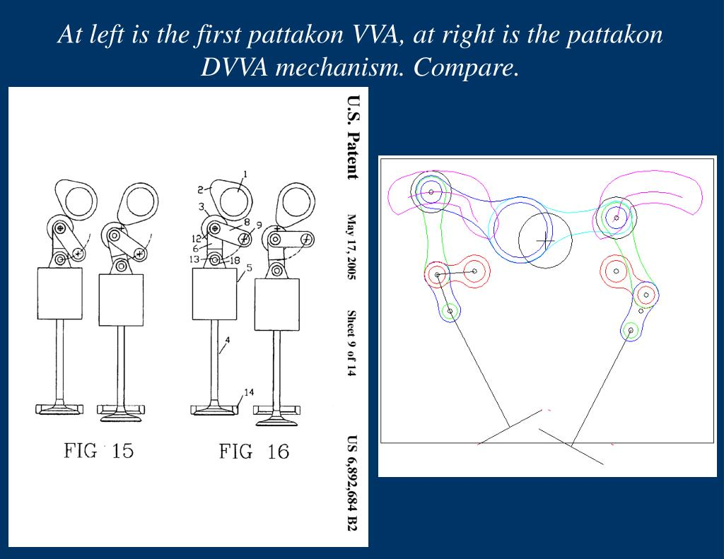 At left is the first pattakon VVA, at right is the pattakon DVVA mechanism. Compare.