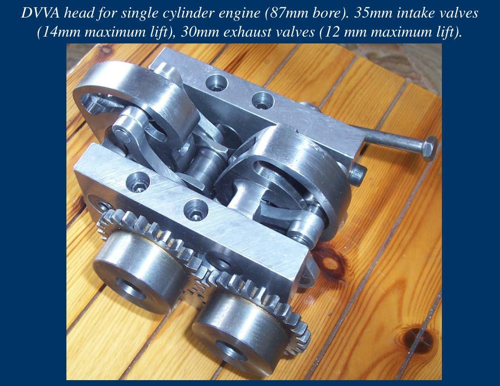 DVVA head for single cylinder engine (87mm bore). 35mm intake valves (14mm maximum lift), 30mm exhaust valves (12 mm maximum lift).