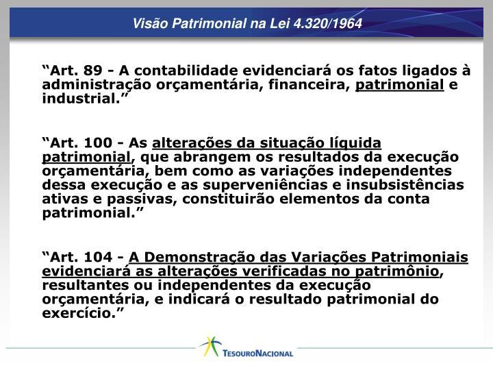 Visão Patrimonial na Lei 4.320/1964