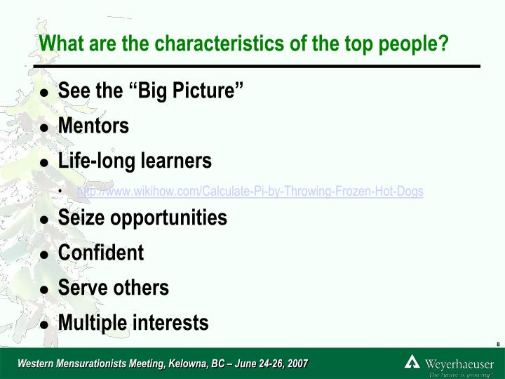 What are the characteristics of the top people?