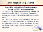 best practices for 156 pte7