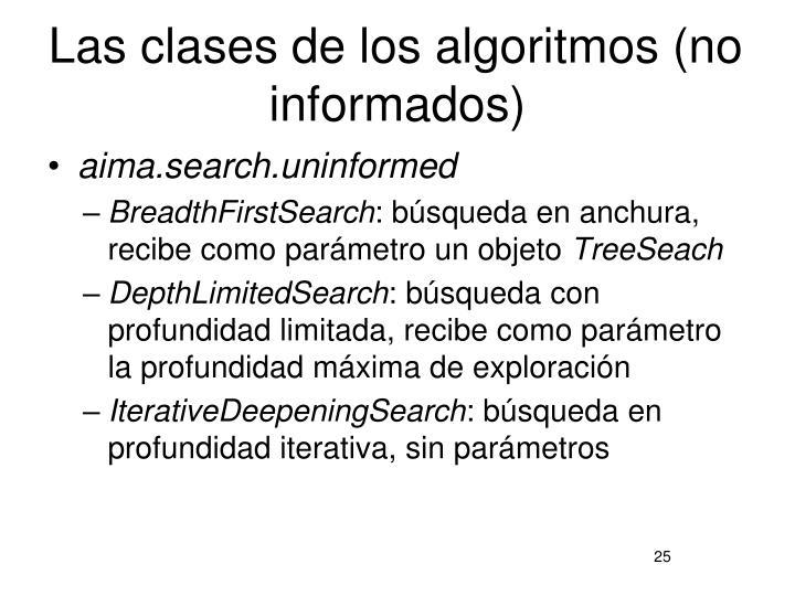 Las clases de los algoritmos (no informados)